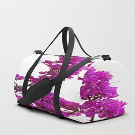 LILAC PURPLE BOUGAINVILLEA VINES CLIMBING ON WHITE Duffle Bag