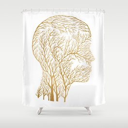 Head Profile Branches - Gold Shower Curtain