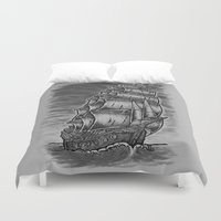 pirate ship Duvet Covers featuring Caleuche Ghost Pirate Ship by Roberto Jaras Lira