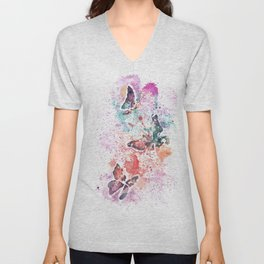 Butterflies Watercolor Painting Unisex V-Neck