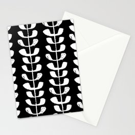 Linocut black and white botanical pattern minimalist home decor nursery trendy leaves pattern Stationery Cards