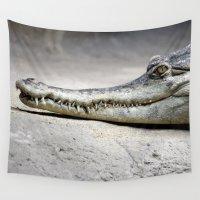 crocodile Wall Tapestries featuring Crocodile by Tiffany Anne