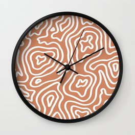 Topographic Abstract | Sunset Orange Wall Clock