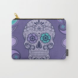 Purple Paisly Sugar Skull Carry-All Pouch