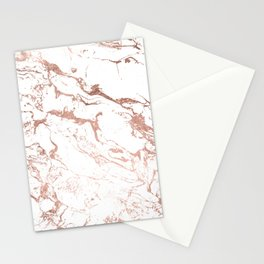 Modern chic faux rose gold white marble pattern Stationery Cards