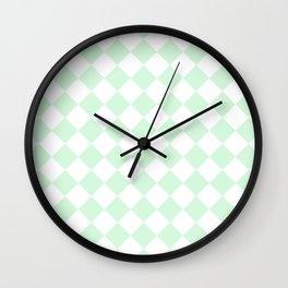 Diamonds - White and Pastel Green Wall Clock