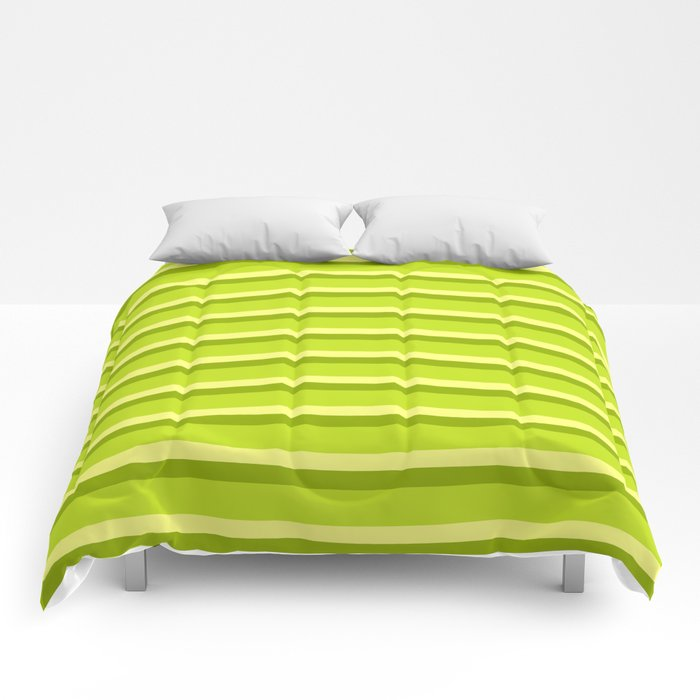 Lime Green Stripes Comforters