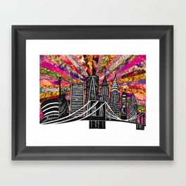 Linocut New York Blooming Framed Art Print