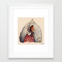 kitsune Framed Art Prints featuring Kitsune by Hannah Margaret Illustrations