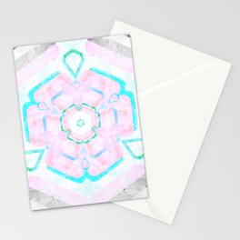 Pale Pink and Teal Viola Hybrid Flower Abstract Art Watercolor Stationery Cards