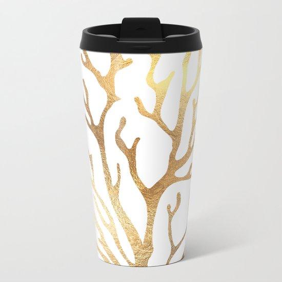Gold Coral Metal Travel Mug