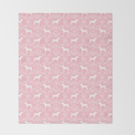 Jack Russell Terrier floral silhouette dog breed pet pattern silhouettes dog gifts pink Throw Blanket