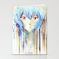 evangelion Stationery Cards featuring Rei Ayanami from Evangelion Digital Mixed Media by Barrett Biggers