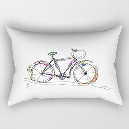 Colorful Bicycle Line Art Rectangular Pillow