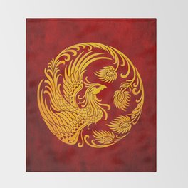 Traditional Yellow and Red Chinese Phoenix Circle Throw Blanket