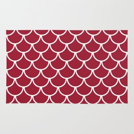 Crimson Fish Scales Pattern Rug