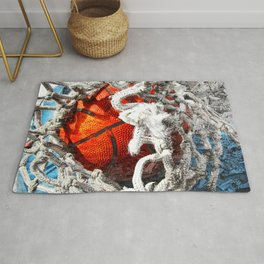 Basketball art swoosh vs 34 Rug