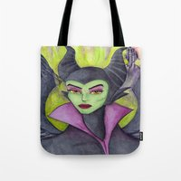 maleficent Tote Bags featuring Maleficent by Tanya Davis Art