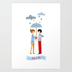 in love under an umbrella Art Print