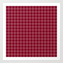 Oxblood - red color - White Lines Grid Pattern Art Print