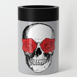 Skull and Roses | Grey and Red Can Cooler
