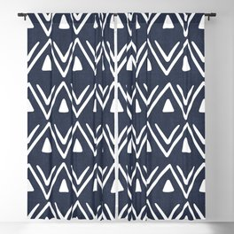 Etched Zig Zag Pattern in Navy Blue Blackout Curtain