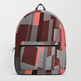 Modern geometric architecture in coral, grey and red Backpack