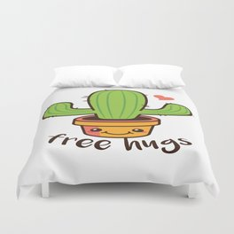 Free Hugs Cactus Duvet Cover