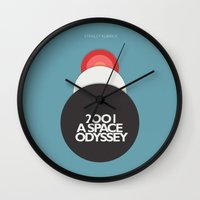 stanley kubrick Wall Clocks featuring 2001 a Space Odyssey - Stanley Kubrick Movie Poster by Stefanoreves