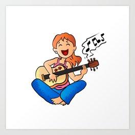 girl playing guitar cartoon Art Print