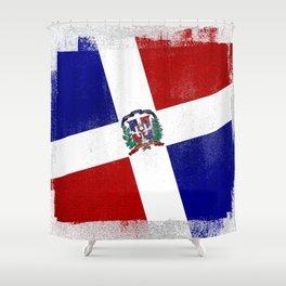 Dominican Republic Distressed Halftone Denim Flag Shower Curtain