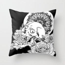 Skull and Flower Throw Pillow