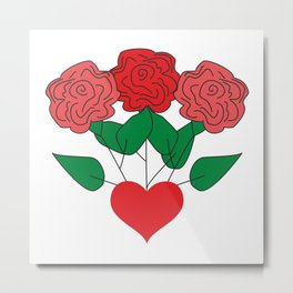 Red Roses & Love Heart #society6 #decor #buyart #artprint Metal Print