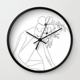Minimal Line Art Nude Woman with Flowers Wall Clock