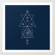 Espiral Triangle Blue Art Print
