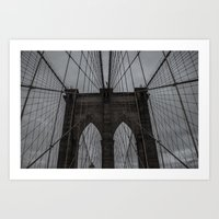 brooklyn bridge Art Prints featuring Brooklyn Bridge by liberthine01