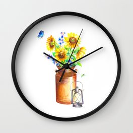 Country Sunflower Wall Clock