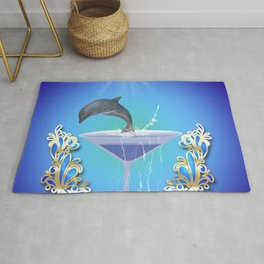 Dolphin jumping out of a glass Rug