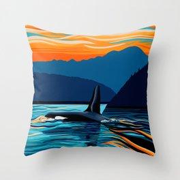 Orca into the Fire Sky Throw Pillow