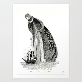 Gothic Sea Goddss Art Print