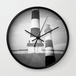 Bodie Island Lighthouse in Black and White - Holga double exposure film photograph Wall Clock