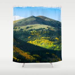 Beautiful Green Mountain Valley Green Fields Littered With Trees Magical Fairytale Landscape Shower Curtain