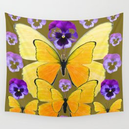 SPRING PURPLE PANSY FLOWERS & YELLOW BUTTERFLIES GARDEN Wall Tapestry