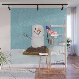 Patriotic S'mores Sledding In Winter Wall Mural