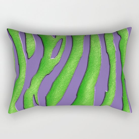 Bright Purple & Green Zebra Print Rectangular Pillow