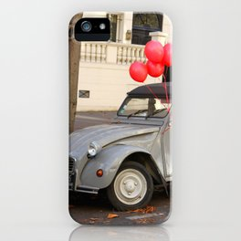 Red Balloons on Gray Vintage Car in Paris iPhone Case