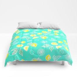 Modern summer bright yellow green lemon fruits watercolor illustration pattern on mint green Comforters