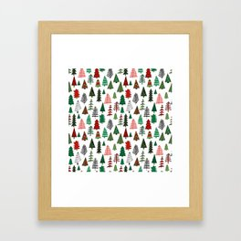 Christmas tree forest minimal scandi patterned holiday forest winter Framed Art Print