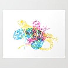 CMY Reptiles Art Print