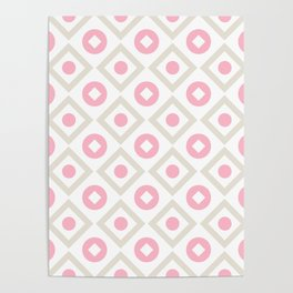 Pink pastel pattern of rhombuses and circles Poster